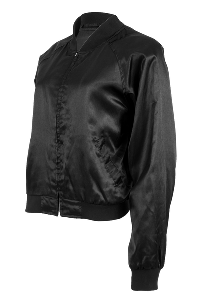 vintage black satin jacket with rib knit trim and front zip closure