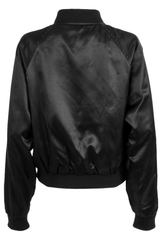 vintage black satin bomber jacket