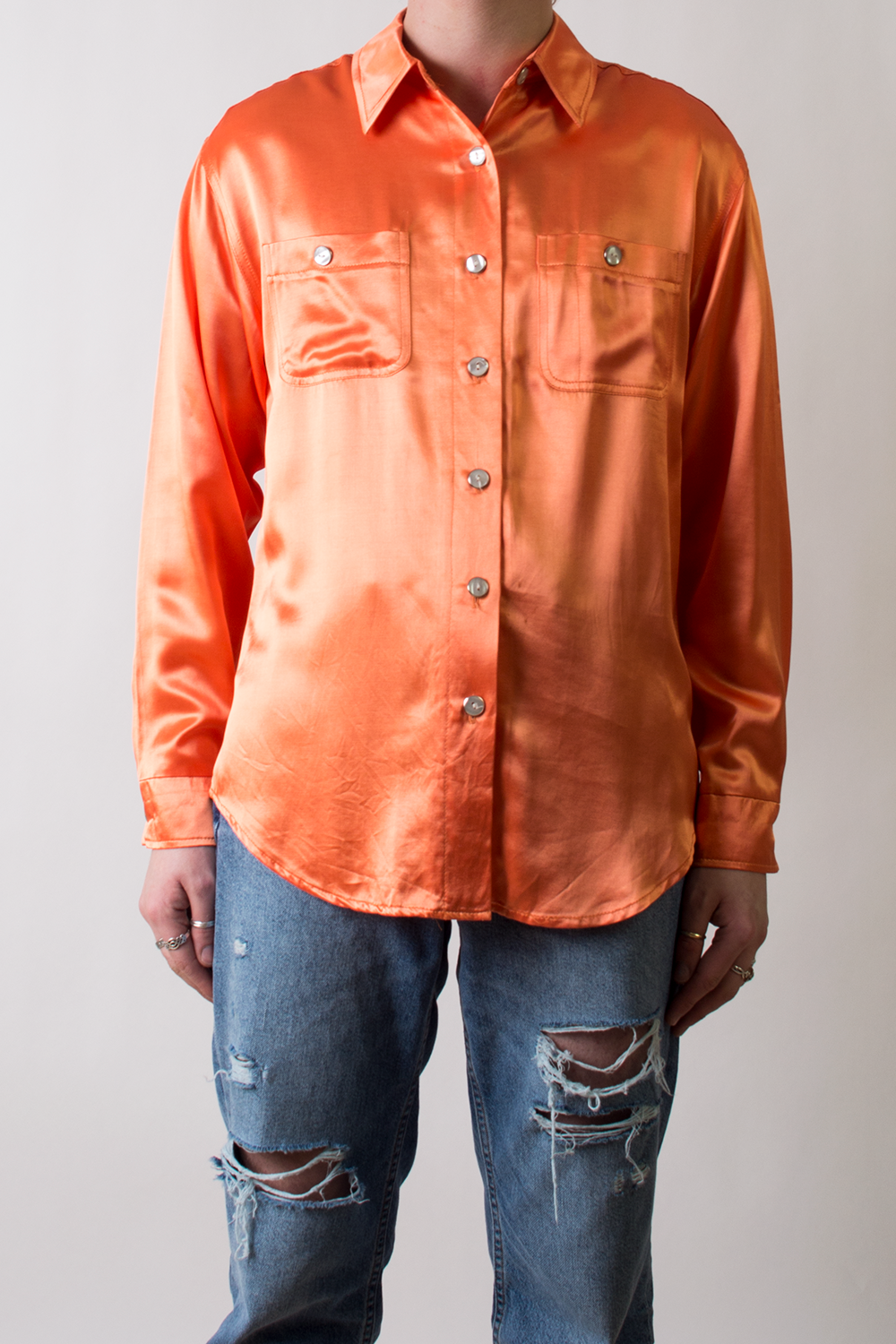 retro satin shirt in orange
