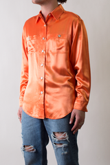 70's satin shirt in orange