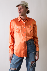 vintage orange satin shirt