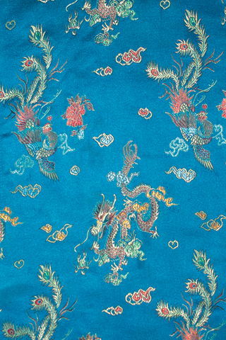 blue satin with dragon embroidery