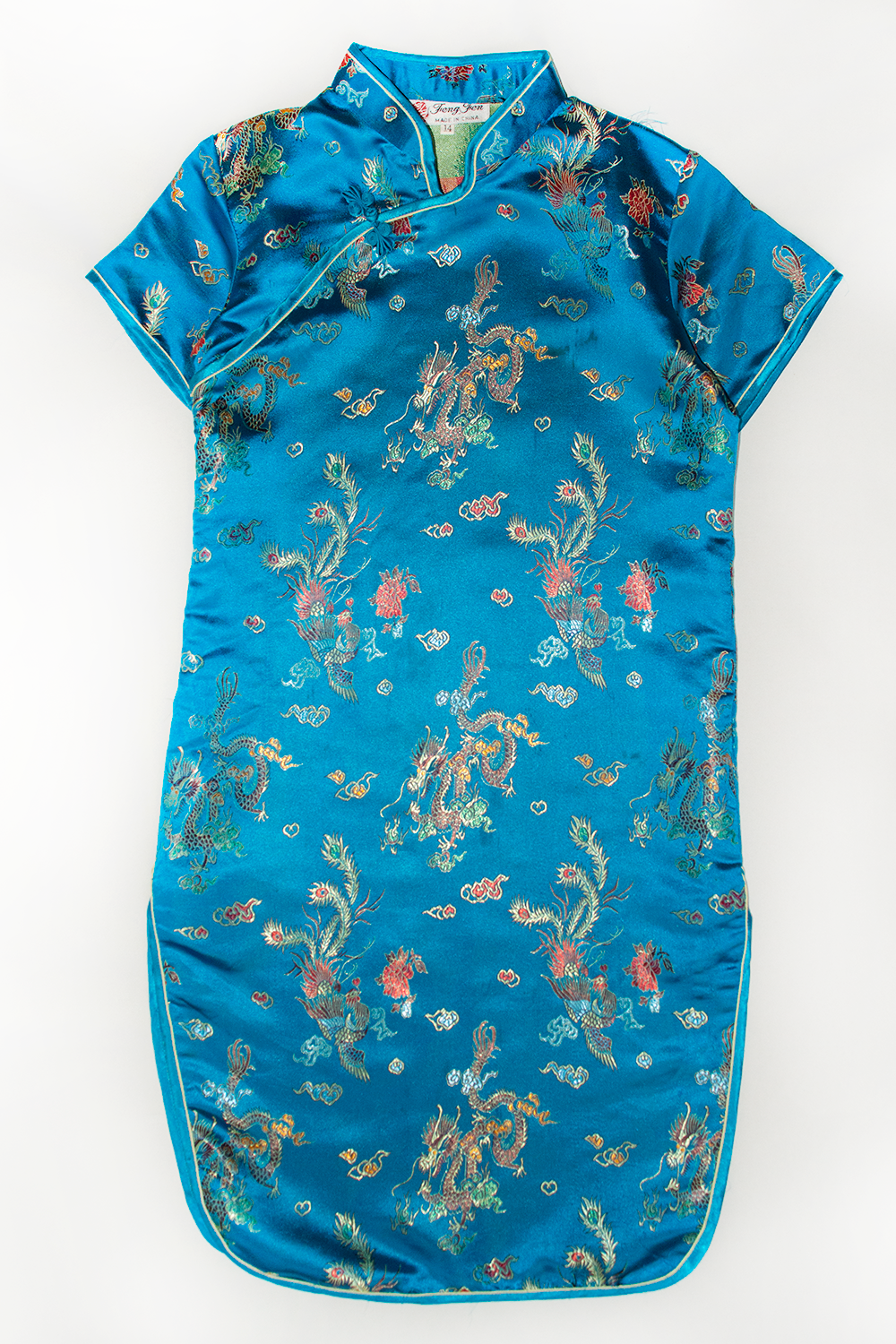 vintage blue satin dragon dress