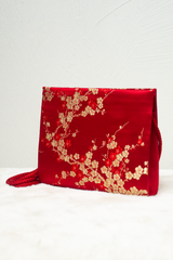 vintage red satin crossbody bag with blossom florals