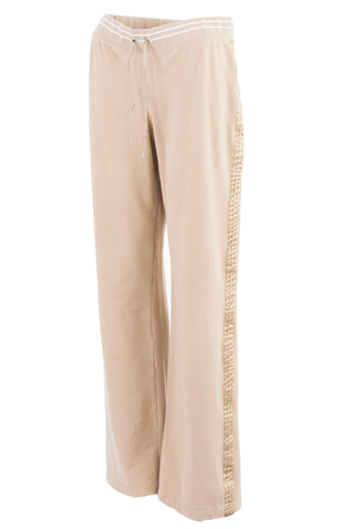 vintage tan lounge pant with gold satin trim and white stripes at hip