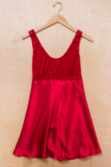 vintage red satin slip dress