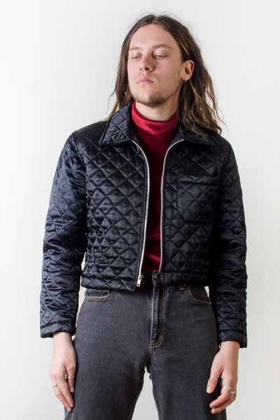 vintage black satin quilted bomber jacket