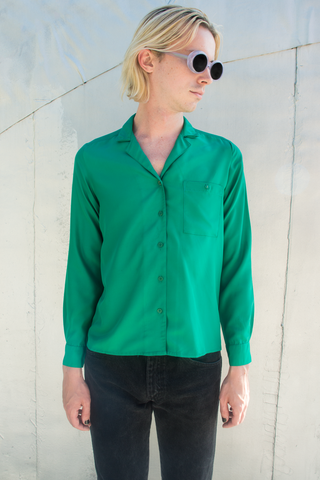 vintage satin shirt in green