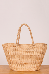 vintage basket bag tote in beige
