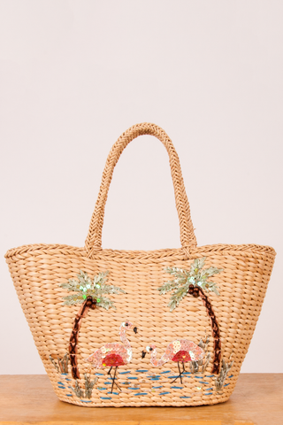 vintage basket bag tote with tropical sequins