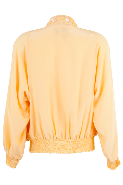 vintage silk bomber jacket in yellow