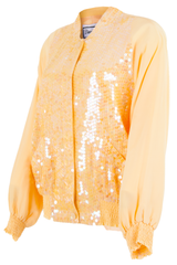 yellow bomber jacket with sequins