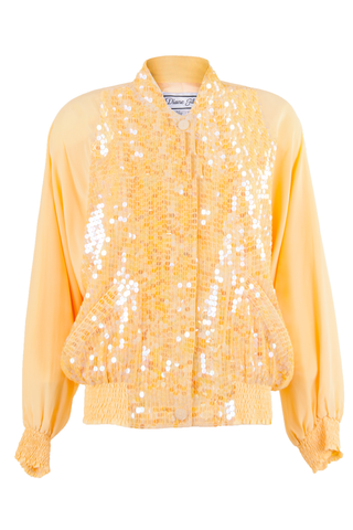 silk bomber jacket with sequins in yellow