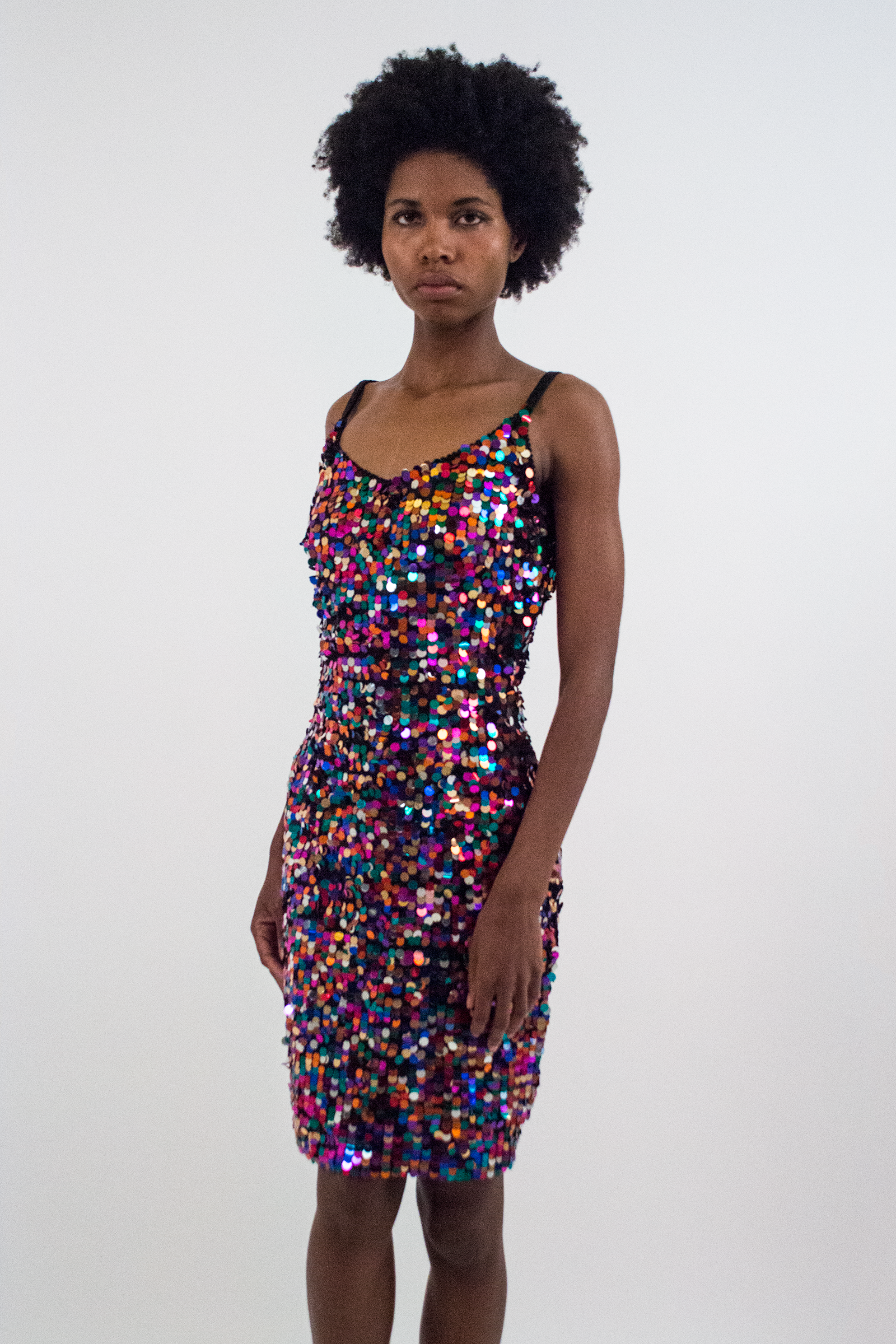vintage multicolor sequin mini dress