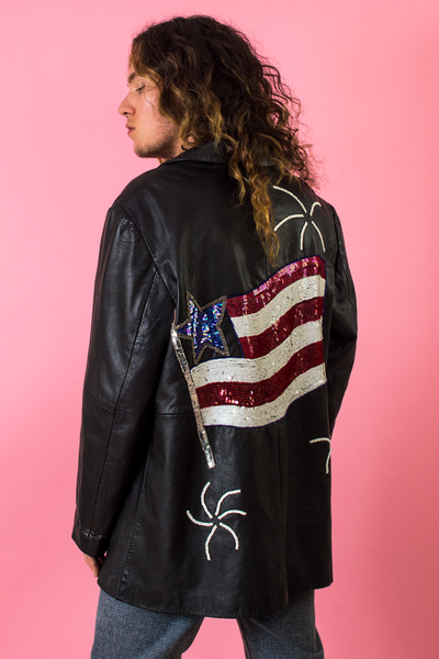 vintage sequined leather jacket with American flag