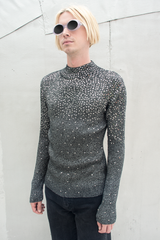 vintage sweater with sequins in grey