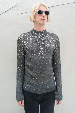 metallic sequin vintage sweater