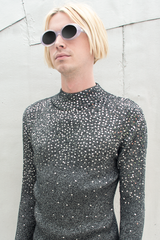 sequins mock neck sweater in silver