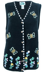black sweater vest with sequin bees and embroidered flowers