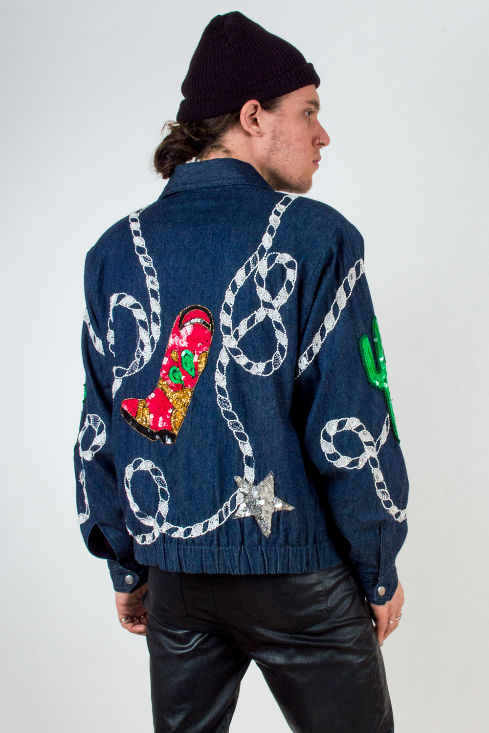 vintage denim jacket with western sequin details