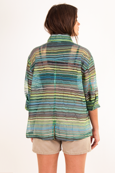 vintage sheer green striped shirt
