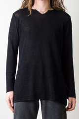 vintage sheer textured henley tunic in black