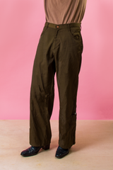 vintage wide leg shiny pants in dark green