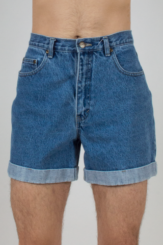 vintage mid-wash blue jean shorts with rolled hem