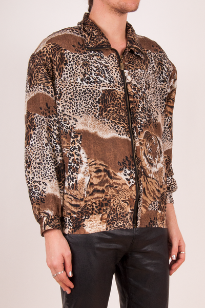 vintage silk animal print windbreaker jacket