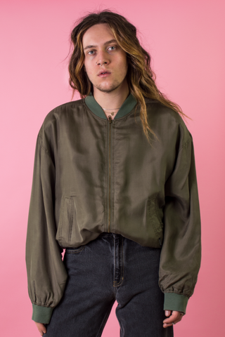 vintage army green silk bomber jacket