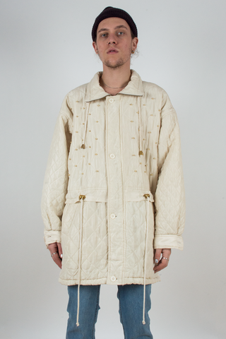 vintage off-white silk coat with gold embellishments