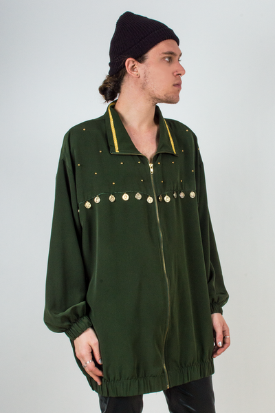 vintage green silk shirt jacket with gold embellishments