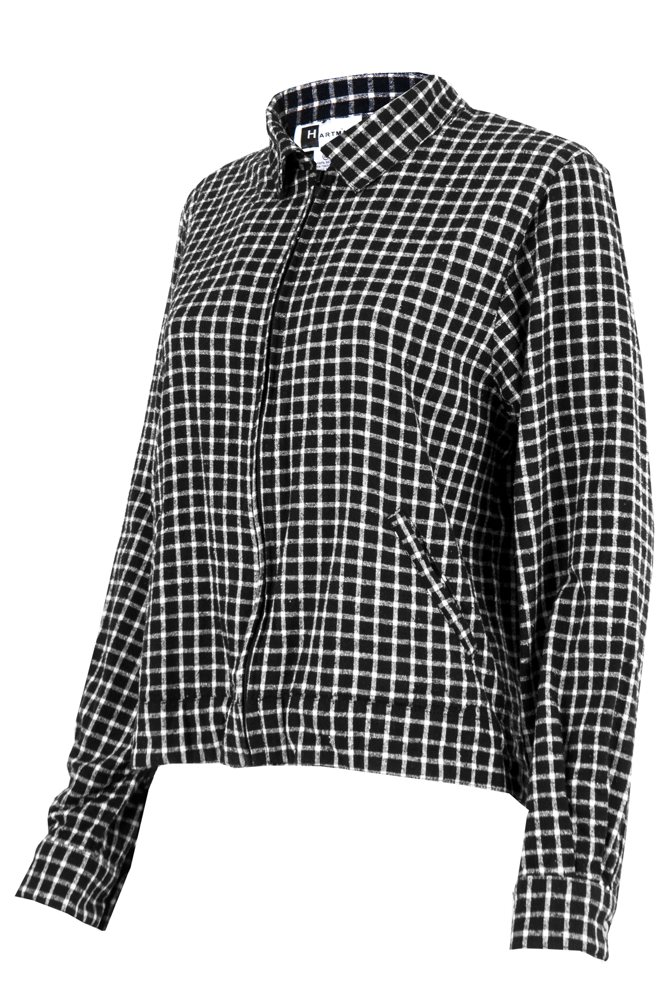 silk checkered jacket in black and white