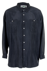 black silk shirt in longer length