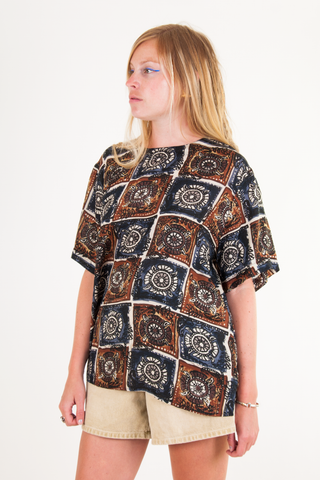 printed silk tunic