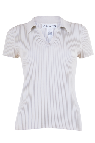 silk ribbed polo in off-white