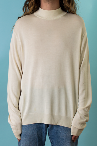vintage white silk mock neck sweater