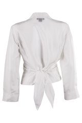 white silk wrap tie blouse from the 90's