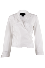 White silk wrap tie blouse