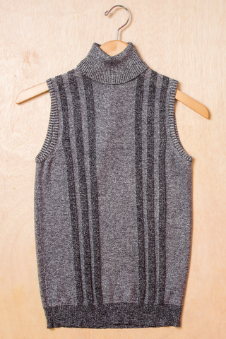 vintage metallic sweater tank top in silver