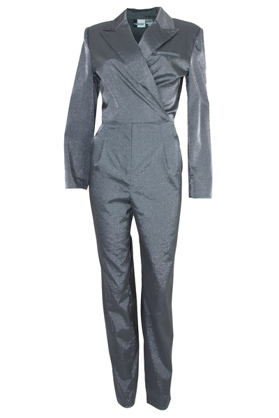 silver sheen jumpsuit with lapel collar and long sleeves