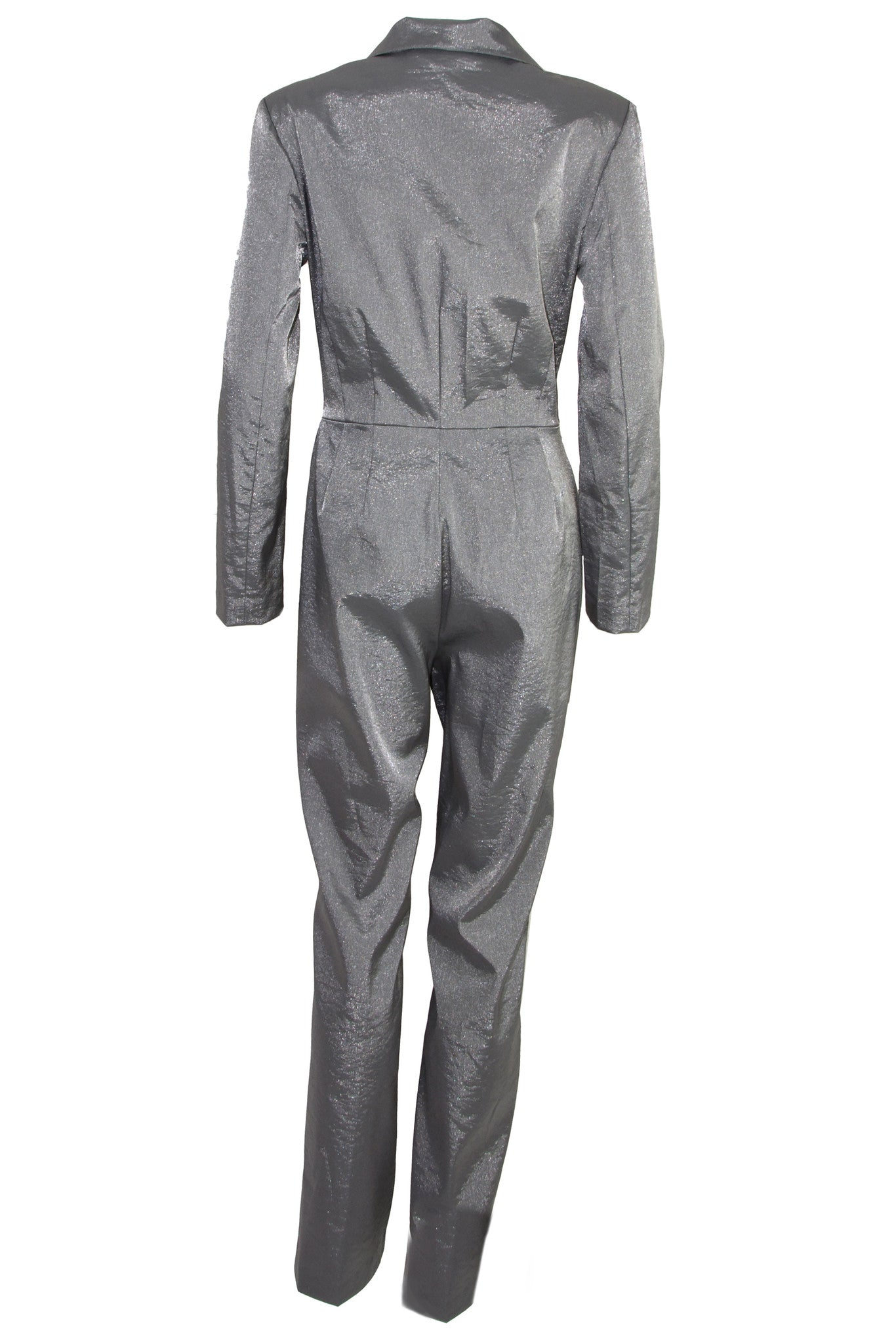 metallic silver jumpsuit with long sleeves