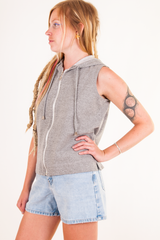sleeveless vintage hoodie in grey