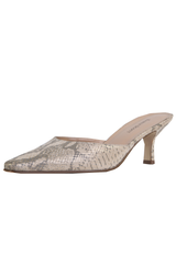 metallic gold snakeskin print mules with kitten heel and pointed toe