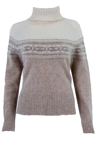 cream turtleneck sweater with fair isle print and sparkle throughout.