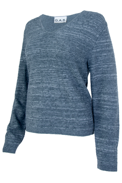 Grey space dye sweater with v-neck