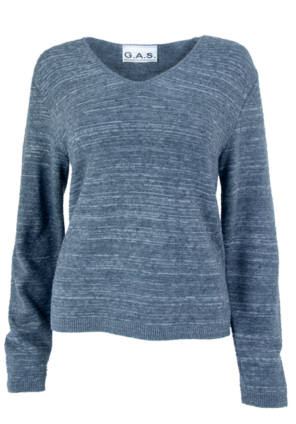 Grey sweater with v-neck and space dye