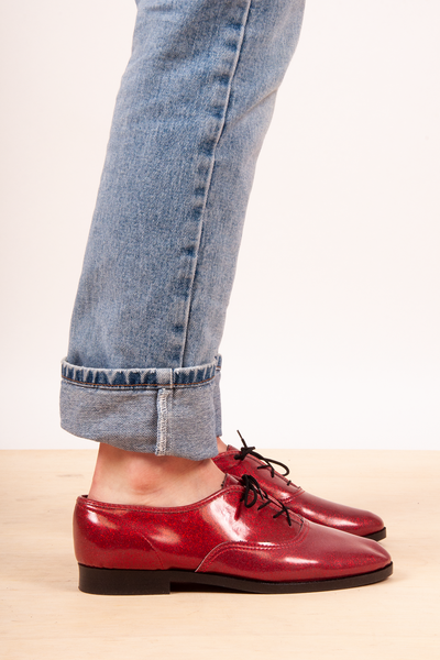 American apparel red glitter oxfords