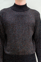 vintage glitter knit mock neck sweater in black iridescence