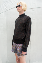 vintage glitter knit mock neck sweater in black multi